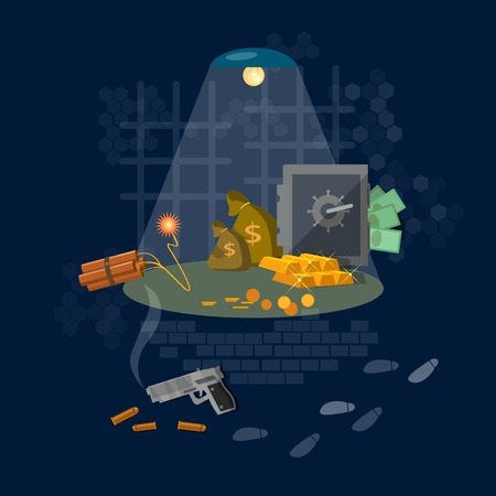 breaking law: Bank robbery hacking safe theft of money crime scene security system illustration Illustration