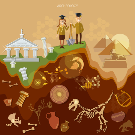 Archeology treasure hunters archaeological excavations ancient artifacts Illustration