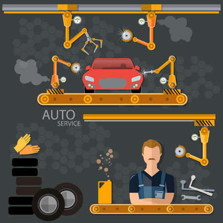 spoilage: Conveyor auto factory assembly of motor vehicles illustration