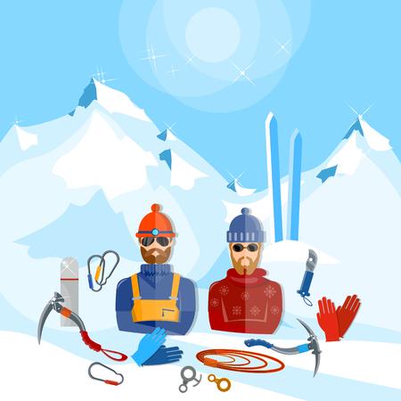 Mountain tourism winter sports snowboarding skiing mountain rescuers illustration
