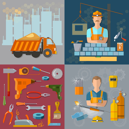 bricklayer: Construction concept workers profession welder bricklayer construction tools set Illustration