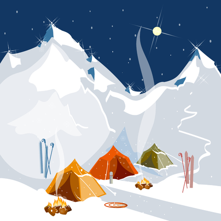 extreme sports: Vector landscape on the theme of mountaineering, trekking, climbing, hiking. Camping in tents in the mountains tourism and extreme sports, outdoor recreation, adventure