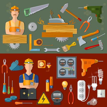 electricidad: carpintero profesional y profesiones electricista profesional banderas del vector