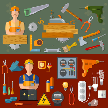 handyman: Professional carpenter and professional electrician professions vector banners Illustration