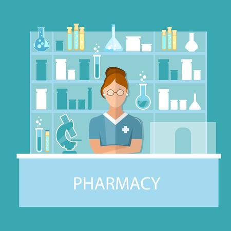dispensary: Pharmacy pharmacist  standing in drugstore selling pills modern flat vector illustration