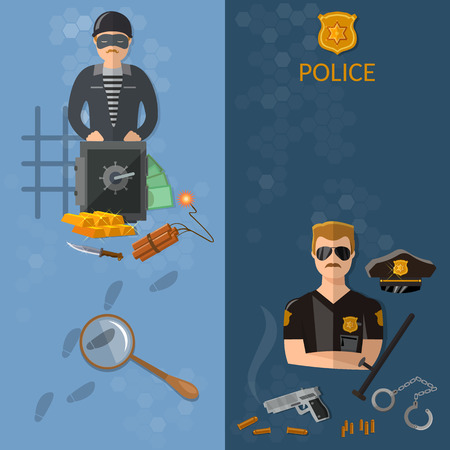 policeman: Crime and Punishment vector banners thief and policeman