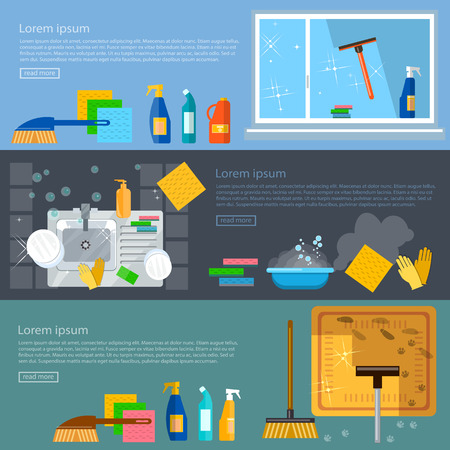 Cleaning service banners home cleaning washing windows carpet cleaning washing dishes vector illustration