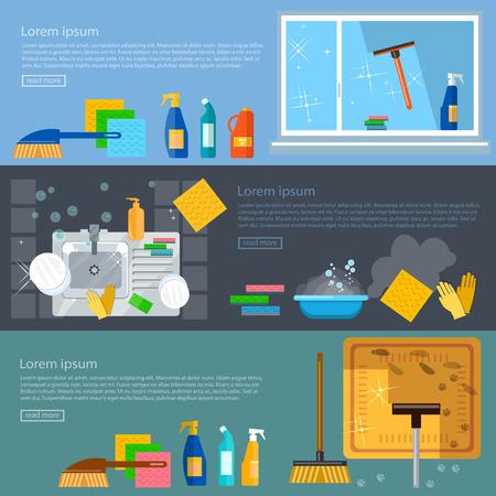 wash dishes: Limpieza de las banderas de servicios de limpieza del hogar lavar las ventanas de limpieza de alfombras ilustración vectorial lavar los platos