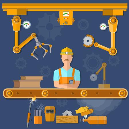 asamblea: la operación del robot de la cinta transportadora con la automatización de cinta transportadora de la ilustración vectorial de trabajo