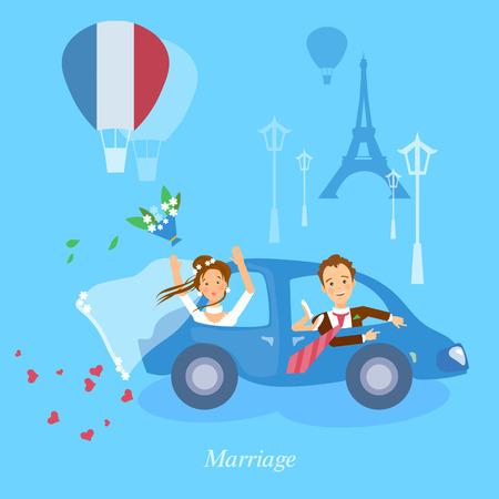honeymoon: Honeymoon couple bride and groom journey in Paris vector illustration