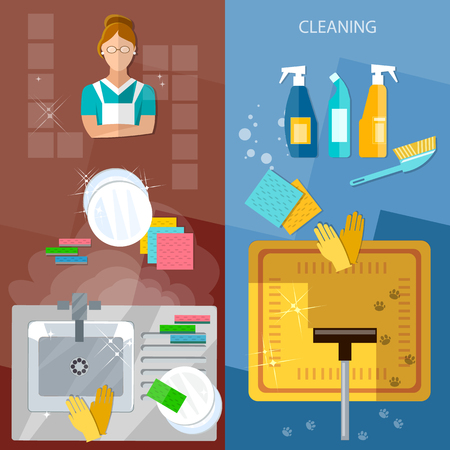 dirty house: Cleaning service banners house cleaning wash dirty dishes vacuum cleaner vector