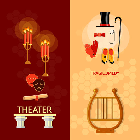 musical theater: Theatre banner theater entertainment and performance elements musical operetta literature dramaturgy vector