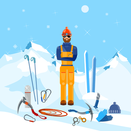 ice axe: Climber winter holidays mountain and adventure vector illustration