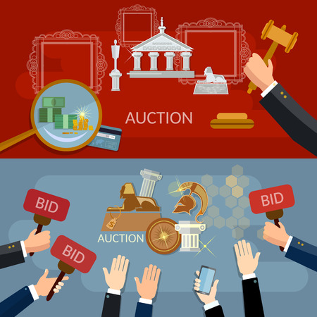 bidding: Auction and bidding banners selling antiques vector illustration