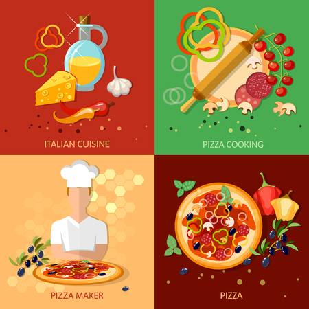 Pizza ingredients work pizzeria chief cooking pizza vector set Vector Illustration