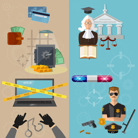 theft proof: Thief and policeman data protection crime and punishment vector banners Illustration