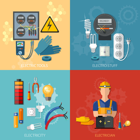 Professional electrical electricity energy electric man in yellow hard hat electric meter vector set Illustration
