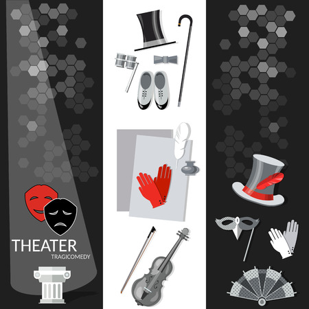 conjurer: Theatre flat banner black and white dramaturgy entertainment and performance elements Illustration