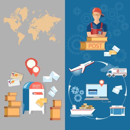 consegna Postal Service striscioni ufficio postale postino posta lettere e pacchi di consegna vettore
