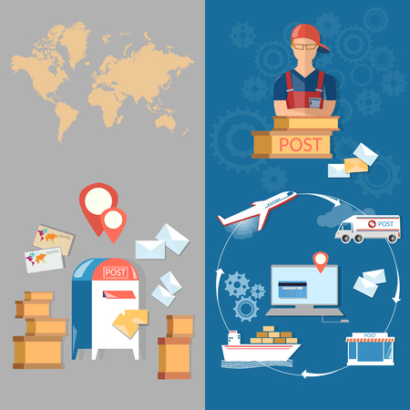 mail delivery: Postal delivery post office banners service postman mail delivery letters and parcels vector Illustration