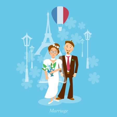 honeymoon: Newlyweds bride and groom honeymoon trip vector illustration