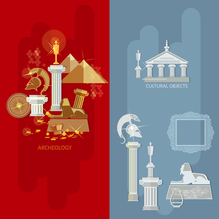 Art gallery banners antique exhibition ancient civilizations world culture vector illustration