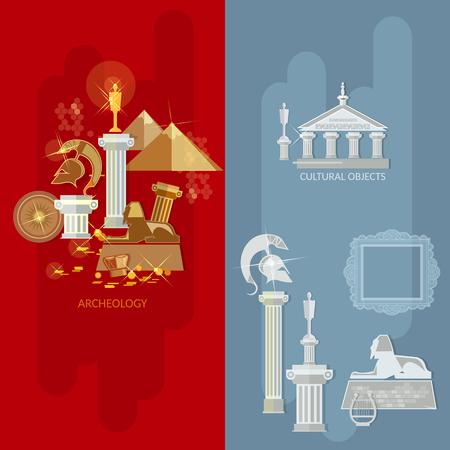 civilizations: Art gallery banners antique exhibition ancient civilizations world culture vector illustration
