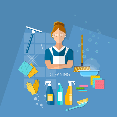 cleaning service: Cleaning service maid house cleaning vector illustration Illustration