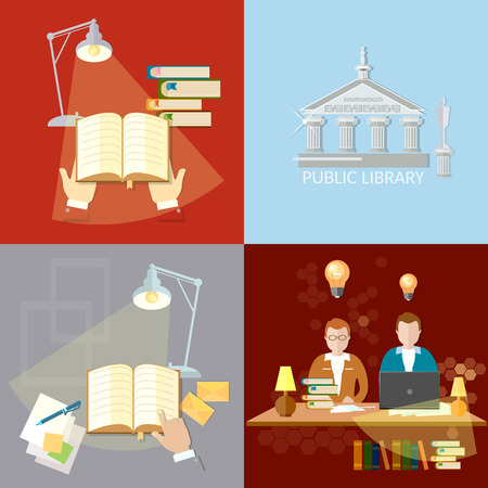 reading room: Library set students reading room education concept vector illustration