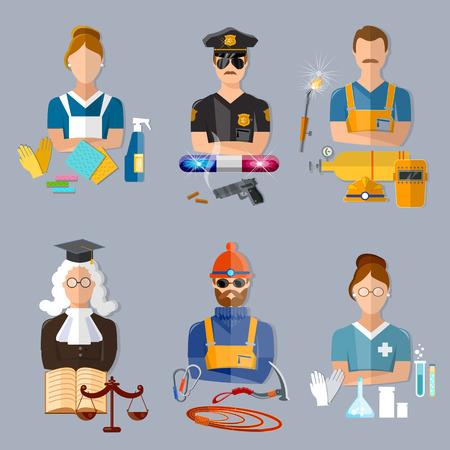 ama de casa: juez de policía ilustración profesiones de recolección de soldador farmacéutico escalador ama de casa del vector