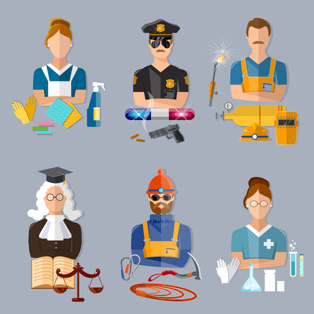 judiciary: Policeman judge welder pharmacist climber housewife collection professions vector illustration Illustration