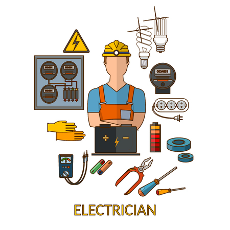 plug hat: Professional electrician with electricity tools silhouette vector illustration