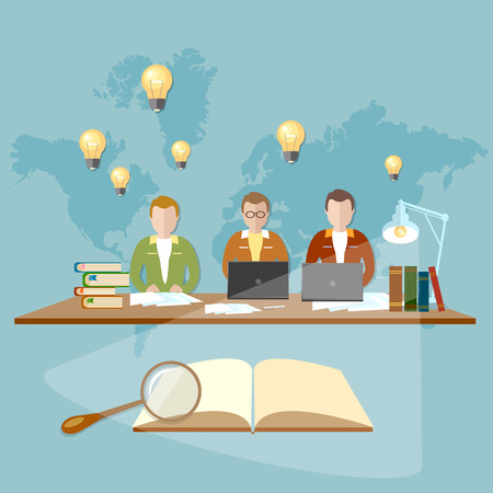school exam: Education students in the library of the university and college preparation for exams vector illustration
