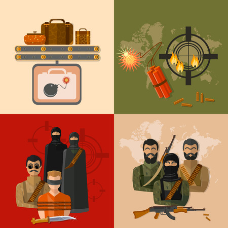 threat of violence: Terrorism concept taking hostages global threat world terror group terrorists vector set Illustration