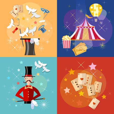 conjurer: Circus performance magic show circus tent set vector illustration