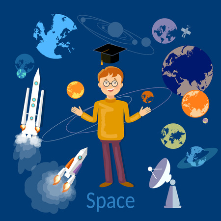 galaxies: Education schoolboy studying astronomy and space vector illustration