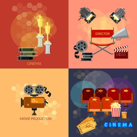 Conjunto de elementos de diseño de la película entradas de cine Festival de cine de palomitas de maíz Clapper premios ceremonia del vector