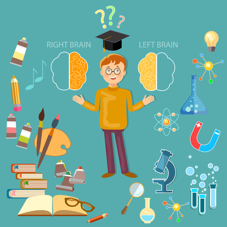 analytical: Schoolboy studying left and right brain analytical and creativity education concept vector Illustration