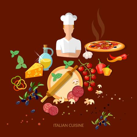 Pizzeria ingredientes de la pizza italiana cocina italiana ilustración vectorial Ilustración de vector