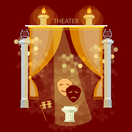 Theatervoorstelling vintage theater stadium gordijn komedie en tragedie maskers vectorillustratie