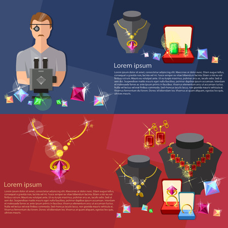 ruby gemstone: Jewelry banners: jewels earrings rings gems jeweler at work vector