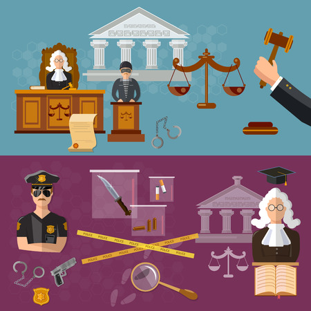 court judge: System of justice banner courtroom the defendant and the judge law vector illustration
