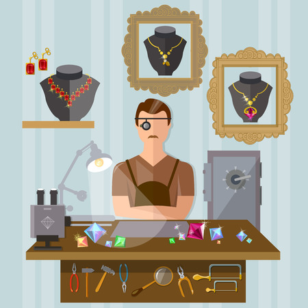 emerald stone: Jeweler at the workplace making jewelry vector illustration