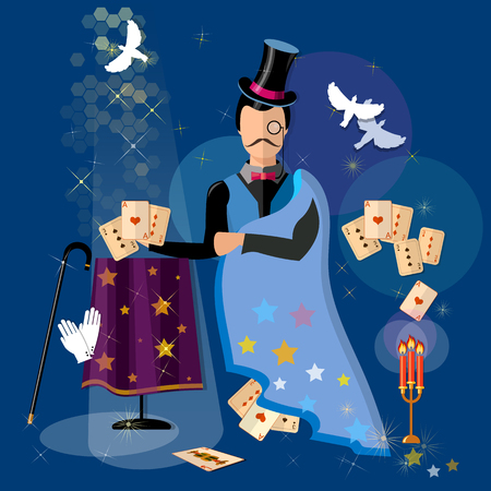 conjurer: Illusionist magician shows tricks magic cards vector illustration Illustration