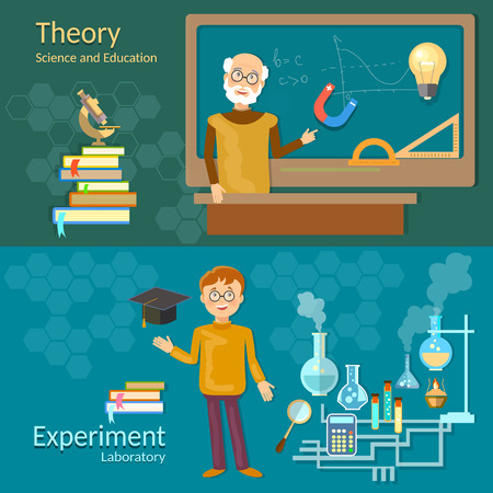 Science and education teachers school board schoolboy professor chemistry physics study laboratory experiments vector banners Illustration
