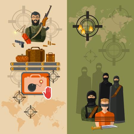 la prise de terrorisme d'otages terroristes mondiale vecteur menace bannières Vecteurs