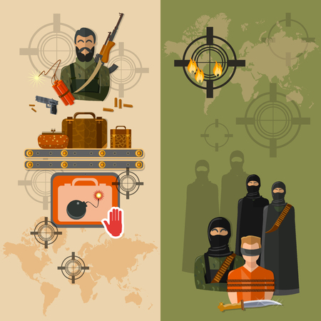 terror: Terrorism taking of hostages global terror threat vector banners