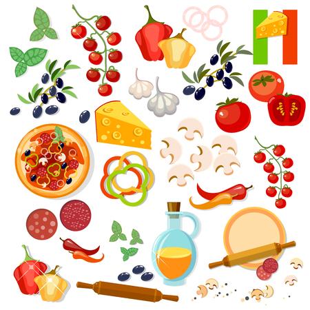 ingredients: Pizza ingredients italian pizza vector collection