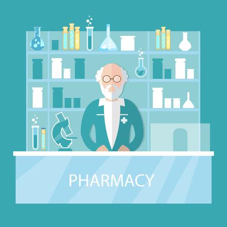 druggist: Pharmacy pharmacist standing in drugstore selling pills vector illustration Illustration