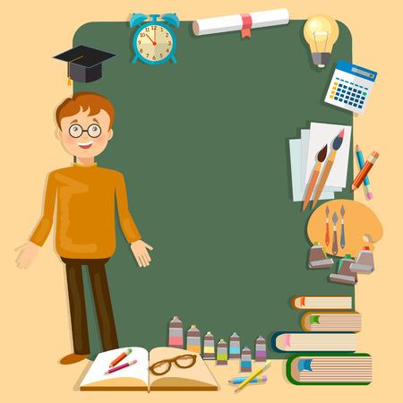 pedagogy: Back to school education schoolboy school board classroom vector illustration